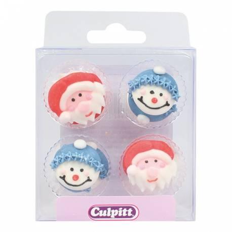 12 Mini décors en sucre en forme de personnages de Noël Dimensions : 2.5 cm
