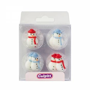 12 mini décors en sucre snowman