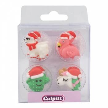 12 mini décors en sucre Noël Tropical