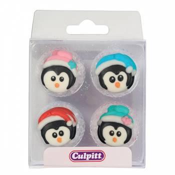 12 mini décors en sucre pingouins