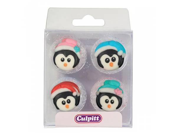 mini décors en sucre pingouins
