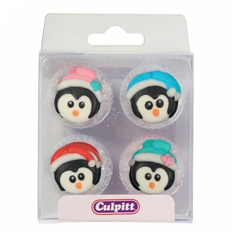 12 Mini décors en sucre en forme de pingouins de Noël Dimensions : 2.5 cm