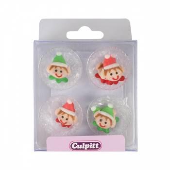 12 mini décors en sucre elf de Noël