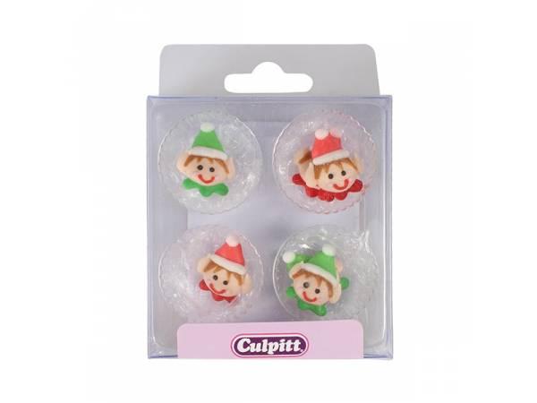 mini décors en sucre elf de Noël