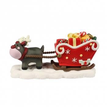 Traîneau de Noël fun en sucre 12cm