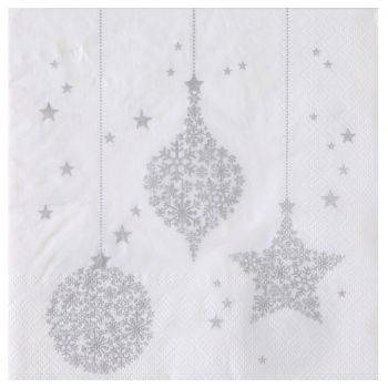20 Serviettes Boules de Noël blanche/argent