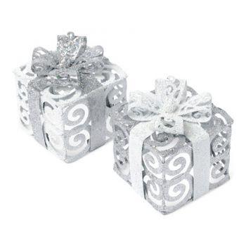 Décor de table cadeau argent et blanc