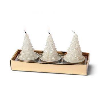3 Bougies sapin de Noël blanc