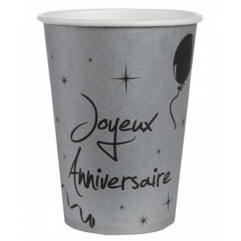 10 Gobelets joyeux anniversaire gris