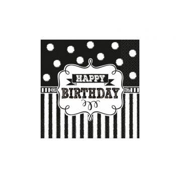 16 Serviettes à dessert Happy Birthday ardoise