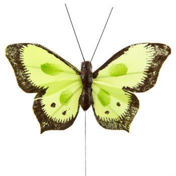 6 Papillons bicolore sur tige vert