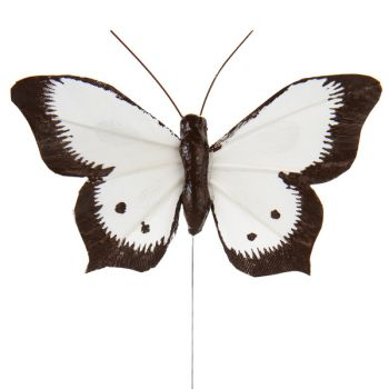 6 Papillons bicolore sur tige blanc