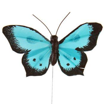 6 Papillons bicolore sur tige bleu