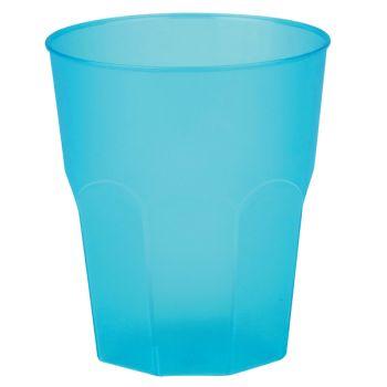 6 Verres cocktail plastique givré turquoise