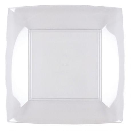 8 Assiettes en polypropylène transparente Dimensions: 23cm x 23cm