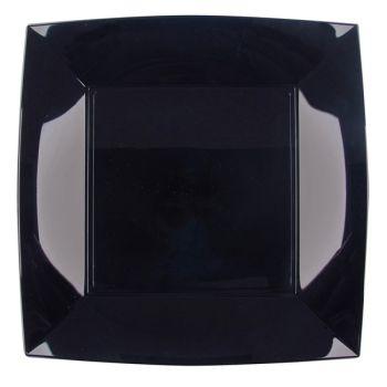 8 Assiettes carrée noire