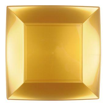 8 Assiettes carrée or