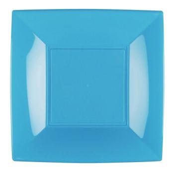 8 Assiettes carrée turquoise