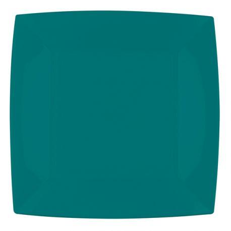 8 Assiettes en polypropylène de couleur verte émeraude Dimensions: 23cm x 23cm