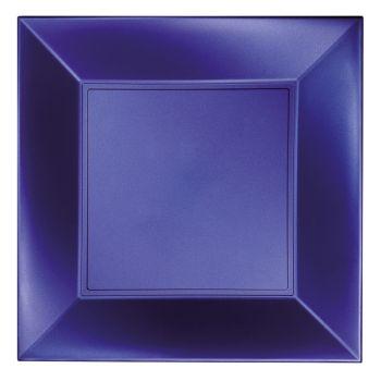 8 Assiettes carrée bleu perlé