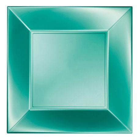8 Assiettes en polypropylène de couleur verte perlé Dimensions: 23cm x 23cm