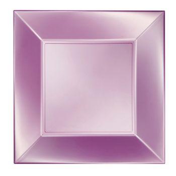 8 Assiettes carrée rose perlé