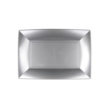 8 Plats gris argent 28cm