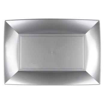 3 Plats gris argent 34cm