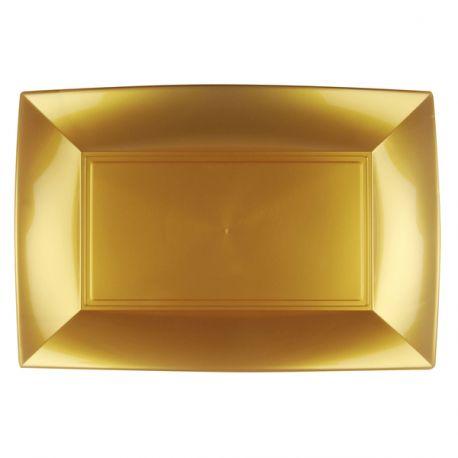 3 plats en polypropylène or idéal pour la présentation de vos divers plats, foie gras, saumons, apéritif... Dimensions : 34.5cm x 23cm