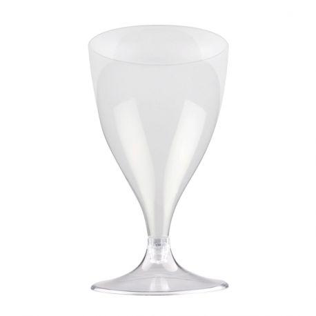 Paquet de 10 verres à vin/eau en plastique pieds transparent 20 cl