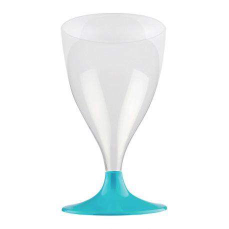 Paquet de 10 verres à vin/eau en plastique pieds turquoise 20 cl