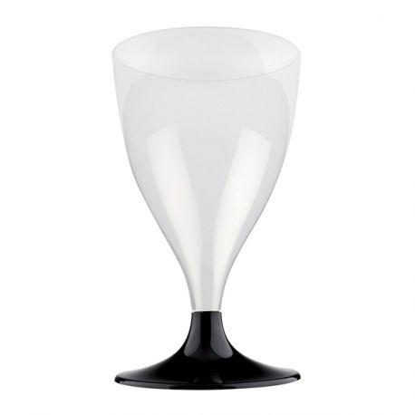 Paquet de 10 verres à vin/eau en plastique pieds noir 20 cl