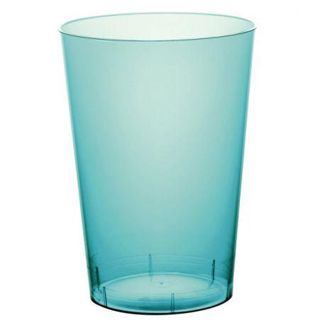 10 gobelets en plastique rigide de couleur turquoise Contenance 20cl