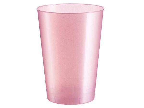 gobelets en plastique rigide de couleur rose perlé