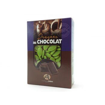 Dragées chocolat brillant vert anis 1Kg