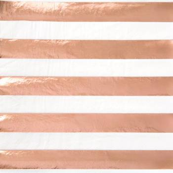 16 Serviettes à rayures rose gold