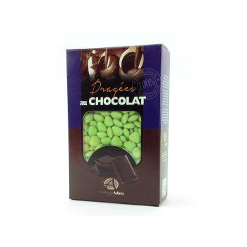 Dragées mini coeur chocolat brillant Tilleul 500gr