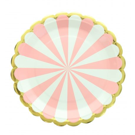 8 Assiettes en carton festonnée à rayures rose et blanche et bord argenté Dimensions: Ø23cm