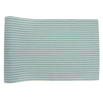 Chemin de table coton Rayures bleu