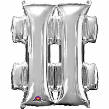 Mini Ballon hélium hashtag argent