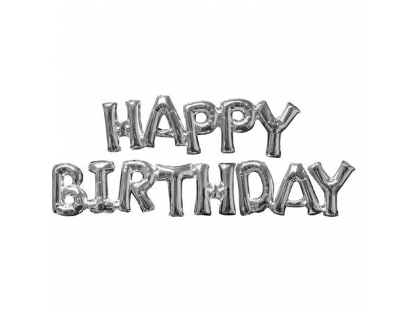Mega ballon aluminium argent en forme de HAPPY BIRTHDAY