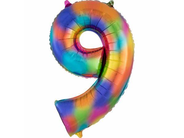 ballon hélium géant chiffre 9 rainbow