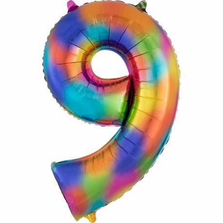 Ballon géant chiffre 9 impression rainbow Ballon en aluminium pouvant étre gonflé avec ou sans hélium à l'aide d'une paille Dimensions:...