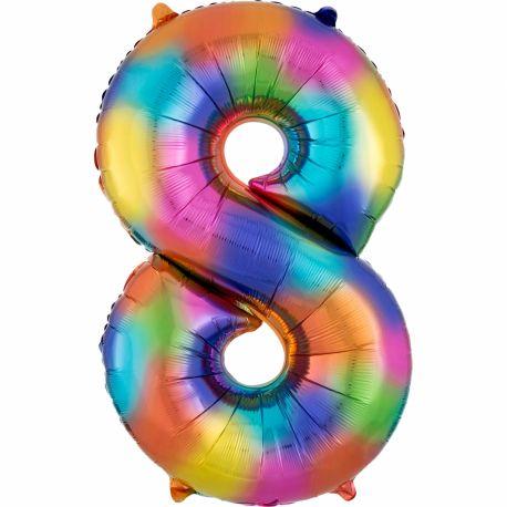 Ballon géant chiffre 8 impression rainbow Ballon en aluminium pouvant étre gonflé avec ou sans hélium à l'aide d'une paille Dimensions:...