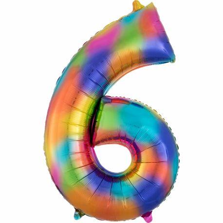Ballon géant chiffre 6 impression rainbow Ballon en aluminium pouvant étre gonflé avec ou sans hélium à l'aide d'une paille Dimensions:...