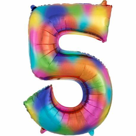 Ballon géant chiffre 5 impression rainbow Ballon en aluminium pouvant étre gonflé avec ou sans hélium à l'aide d'une paille Dimensions:...