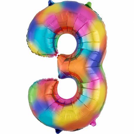 Ballon géant chiffre 3 rainbow