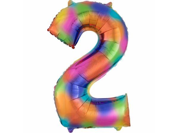 ballon hélium géant chiffre 2 rainbow
