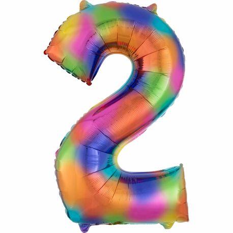 Ballon géant chiffre 2 impression rainbow Ballon en aluminium pouvant étre gonflé avec ou sans hélium à l'aide d'une paille Dimensions:...