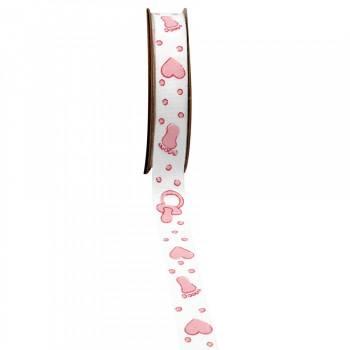 Ruban coton pied coeur rose
